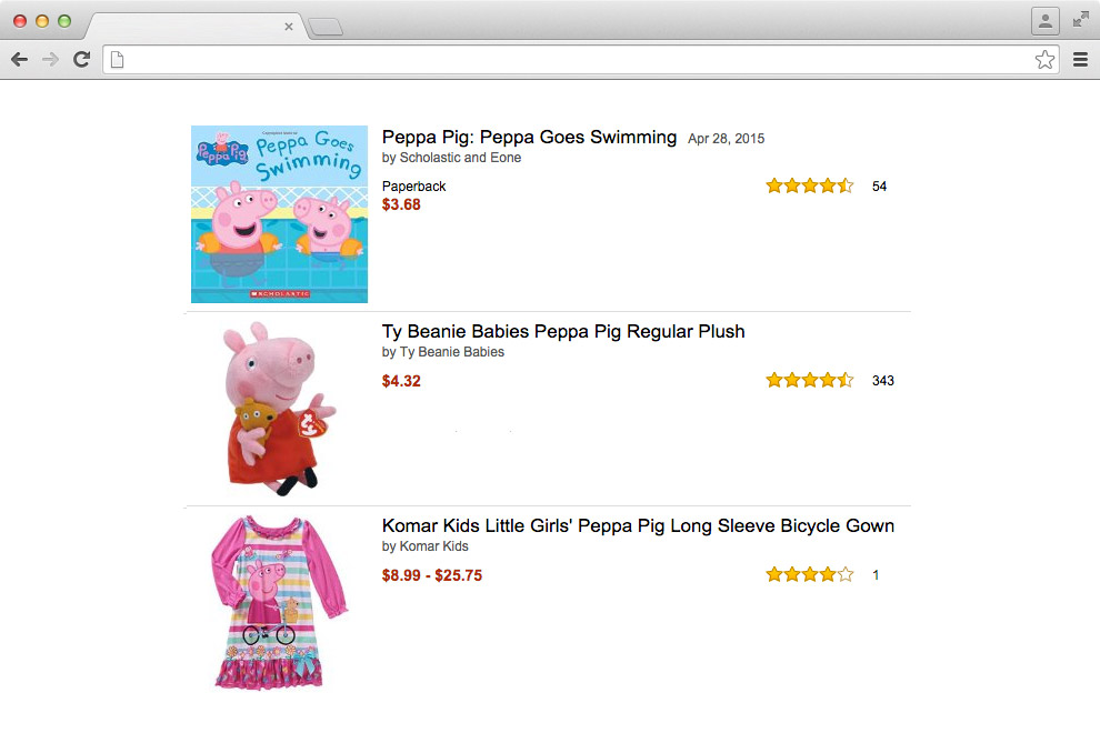 [A screenshot showing 3 Peppa Pig articles, without any headers, menus, or additional texts surrounding them.]