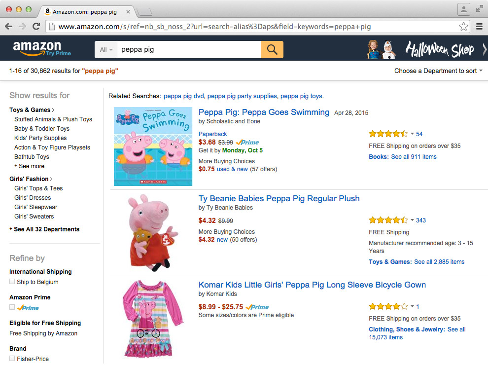 "[A screenshot of an Amazon search page for ""Peppa Pig"", showing 3 Peppa Pig articles, surrounded with navigation bars and explanatory texts.]"